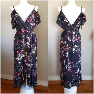 BAND of GYPSIES Floral Hi-low Off shoulder DRESS S